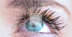 Close-up of eye with futuristic interface Royalty Free Stock Photography