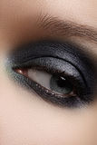 Close-up eye with gray make-up and silver glitter. Elegance close-up of female eye with dark gray eyeshadow. Macro shot of beautiful womans face part. Wellness stock photography