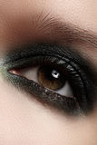 Close-up eye with gray make-up and silver glitter. Elegance close-up of female eye with dark gray eyeshadow. Macro shot of beautiful womans face part. Wellness royalty free stock photo