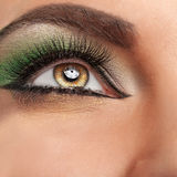 Close up eye with green make up Royalty Free Stock Photos