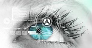 Close-up of eye with interface Royalty Free Stock Photo
