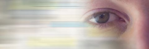 Close up of eye with motion blur transition stock image