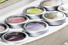 Close up of eye shadow in beauty case Stock Photos