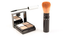 Close up eye shadow with cheek brush on white Stock Photo