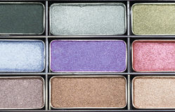 Close-up eye-shadow makeup. The eye shadow have colorful, palette of eye shadow Stock Image