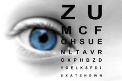 Close up of an eye and vision test Royalty Free Stock Image