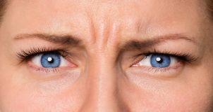 Face woman with eyes and eyelashes. Close up eyes angry female. Portrait of young woman expressing anger, bad mood Royalty Free Stock Image