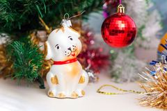 Close-up eyes of the baby near the Christmas tree. Careful focused look_ royalty free stock images