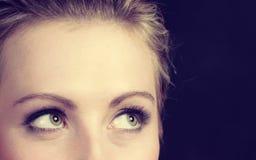 Close up eyes of beautiful elegant woman. Elegance, feminity, lady beauty concept. Portrait of beautiful dreaming elegant woman, eyes closeup royalty free stock photography