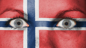 Close up of eyes with flag. Close up of eyes. Painted face with flag of Norway Stock Photos