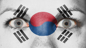 Close up of eyes with flag Royalty Free Stock Photography
