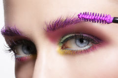 Close up on eyes , making colorful eyeshadows and eyeliner Royalty Free Stock Photos