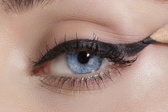 Close up on eyes , making colorful eyeshadows and eyeliner Royalty Free Stock Image