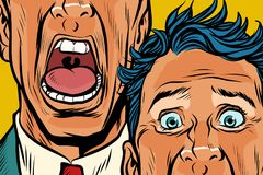 Close-up of eyes and mouth men cry, panic face. Pop art retro vector illustration Royalty Free Stock Photography