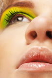 Close up eyes, nose and lips of woman Royalty Free Stock Images