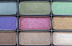 Close-up eyeshadow makeup. Close-up eye shadow makeup, The eye-shadow have colorful, palette of eye-shadow Royalty Free Stock Image