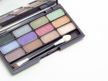 Close up eyeshadow makeup,. Close up eye shadow makeup, The eye-shadow have colorful, palette of eye-shadow Stock Photos