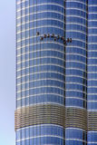 Close up of facade of Burj Khalifa tower with window washers taken on March 21, 2013 in Dubai, United Arab Stock Photos