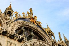 Close up of the facade of St Mark`s Basilica, cathedral church of Venice, Italy. stock images