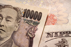 Close-up of face on 10000 japanese yen note Royalty Free Stock Images