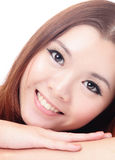 Close up Face of Asian female smiling Stock Photos