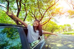 Close up face of asian teenager happiness emotion in personal ca royalty free stock photography