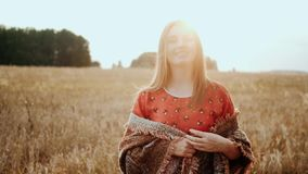 Close up face beautiful woman on field wheat on sunset, countryside smiling look at camera. Organic products concept stock video footage