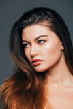 Close up of face beauty girl with beauty skin on grey background. Cosmetics or spa, healtcare concept. Royalty Free Stock Images
