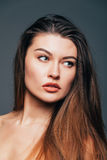 Close up of face beauty girl skin on grey background. Cosmetics or spa, healtcare concept. Stock Photos