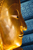 Close up face of big reclining buddha at Wat Pho temple in Bangk Royalty Free Stock Photography