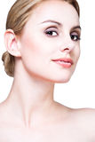 Close-up face of blond beauty Stock Photography