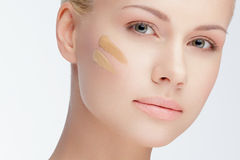 Close-up face with cosmetic foundation Royalty Free Stock Photos