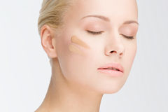Close-up face with cosmetic foundation Stock Photography