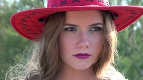 Close up face of cowgirl stock video footage