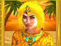 Close up face of Egyptian royal woman. With palm trees in background against an orange sunset sky and ocean. Can depict Cleopatra, Nefertiti, Hatshepsut or any Stock Images