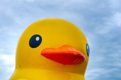 Close up of the face of the floating yellow rubber ducks balloon. With cloud and blue sky in the background Royalty Free Stock Photo