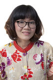 Close up face of forty years old asian woman wearing eyes glass Royalty Free Stock Image