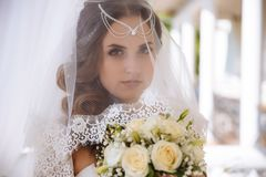 A close-up of the face of a green-eyed bride in a veiled veil, her hair is decorated with lalatic, makiia of natural. Tones, openly looks into the camera, holds stock image