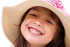 Close up face of happy, smiling female asian caucasian kid Stock Images