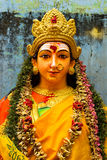A close up on the face of an idol of Goddess Durga.  Royalty Free Stock Photos