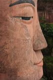 Close up of the face of Leshan Giant Buddha Stock Images