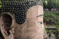 Close up of the face of Leshan Giant Buddha Stock Photos