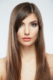 Close up face. Long hair Royalty Free Stock Images