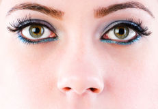 Close up of face with makeup royalty free stock photography
