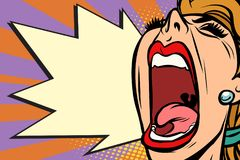 Close-up face pop art woman screaming rage Royalty Free Stock Photos
