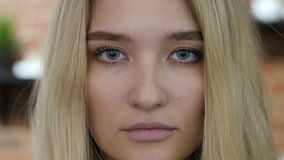 Close up Face Portrait Of Girl , blond stock footage