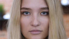 Close up Face Portrait Of Girl, Blonde. High quality Stock Photo