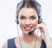 Close up face portrait o woman customer service worker isolated Royalty Free Stock Images