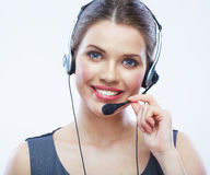 Close up face portrait o woman customer service wo Stock Photography
