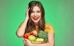 Close up face portrait of smiling woman with fruits and vegetabl Royalty Free Stock Photo